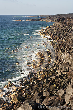 Free Vulcanic Coastline In Lanzarote Royalty Free Stock Photography - 35058287