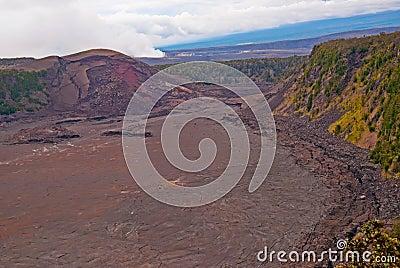 Vulcão de Kilauea no console grande de Havaí