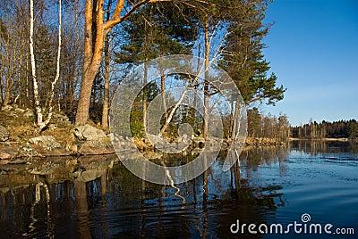 Vuoksi river spring landscape