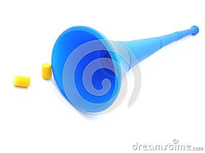 Vuvuzela horn and earplugs
