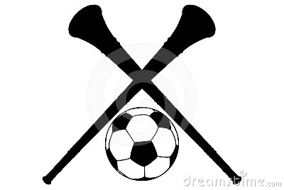 Vuvuzela Horn and Soccer Ball Silhouette Isolation
