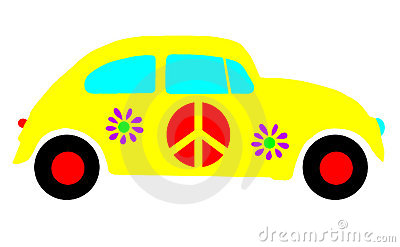 VW Beetle Bug, Hippie Peace Love Symbols Isolated