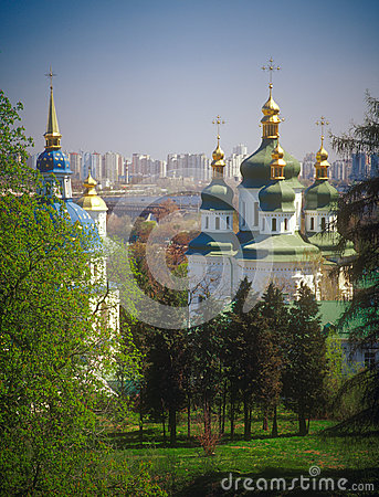 Vydubychi monastery in spring. Kyiv, Ukraine.