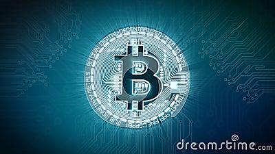 Währungszeichen-Digital-Animation Bitcoin BTC mit elektronischem Hintergrund stock video footage