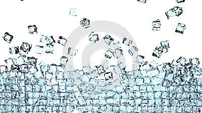 Würfel des Eises 4K fällt unten auf ein Weiß und bildet eine Wand vor der Kamera