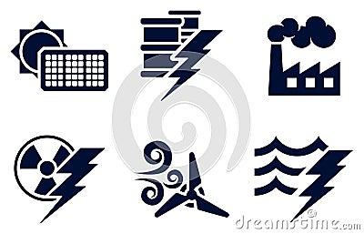 Władzy i energii ikony