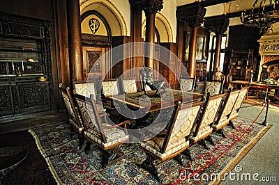 Wśrodku Cochem kasztelu rocznika pokój Fotografia Editorial
