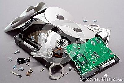 W oddaleniu łamający komputer rozbijający prowadnikowy hard