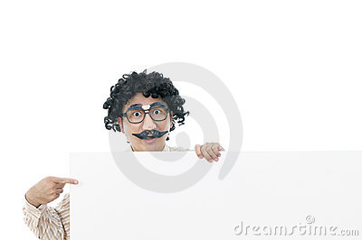 Wacky guy holding a whiteboard