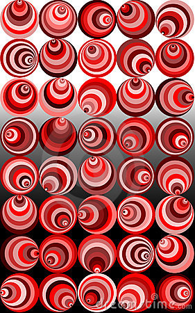 Wacky red retro spirals