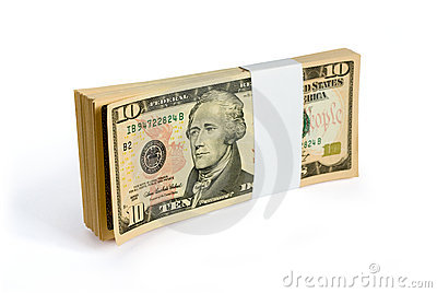 Wad of 10 dollar bank notes