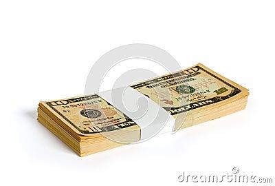 Wad de notas de banco de 10 dólares