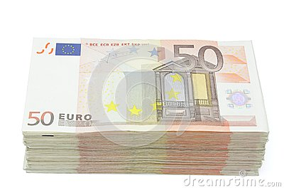 Wad of fifty euros bills