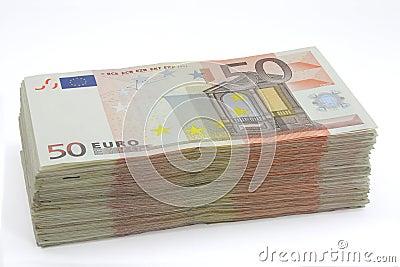 Wad of fifty euros bills