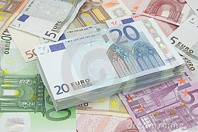 Wad of twenty euros bills