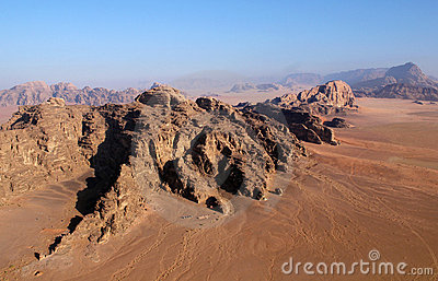 Wadi rum desert from above. Jordan