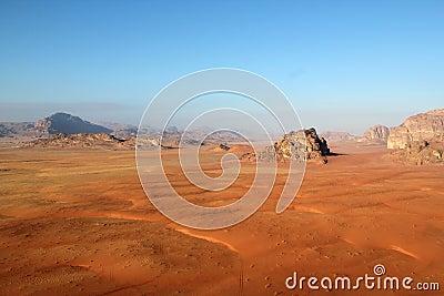 Wadi rum desert from above. Jordan