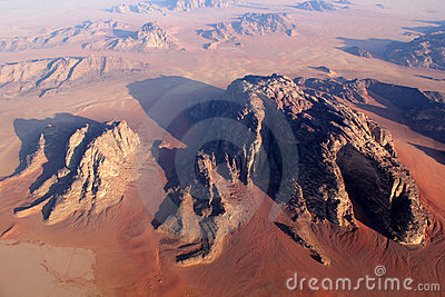 Wadi Rum Desert landscape from above