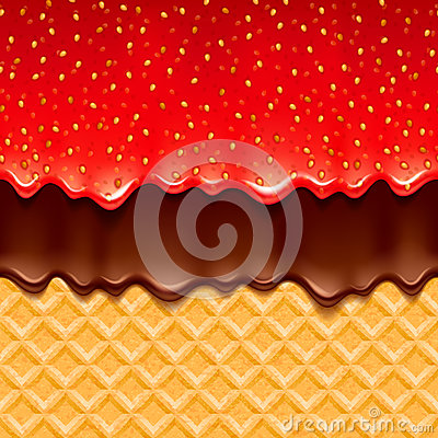 Free Wafer And Strawberry Jam And Chocolate - Vector Background. Royalty Free Stock Image - 92458816