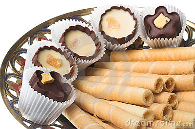 Wafer tubules with sweets