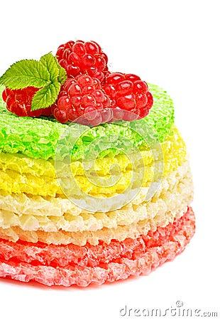 Waffle cake with raspberries