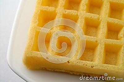 Waffle on a dish closeup