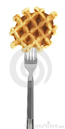 Waffle on a fork