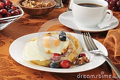 Waffle with a fried egg