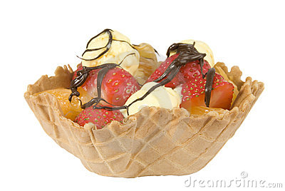 Waffle fruit basket drizzled with chocolate