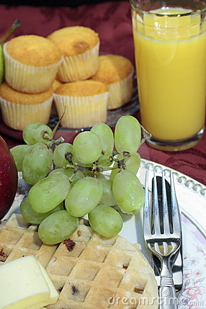 Waffle, Grapes and Juice