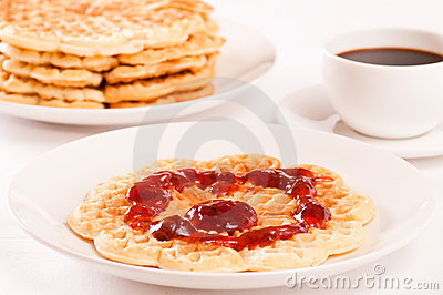 Waffle with jam and coffee