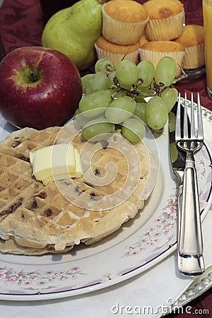 Waffle plate fresh fruit