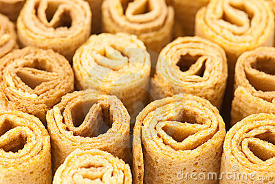 Waffle rolls background
