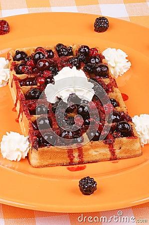 Waffle with soft fruits