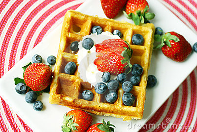 Waffle topped with berries