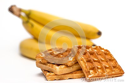 Waffles and bananas