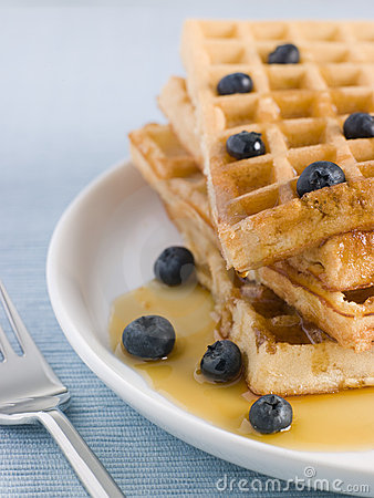 Waffles with Caramel Syrup and Blueberries