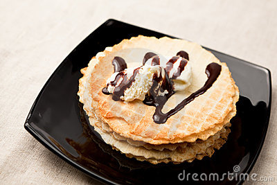 Waffles with ice-cream