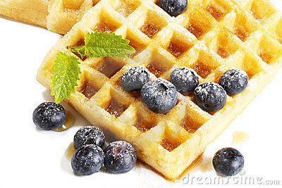 Waffles with sugar covered blueberries melisss and