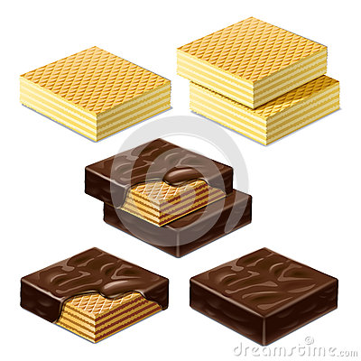 Waffles and waffles in chocolate glaze. Illustration