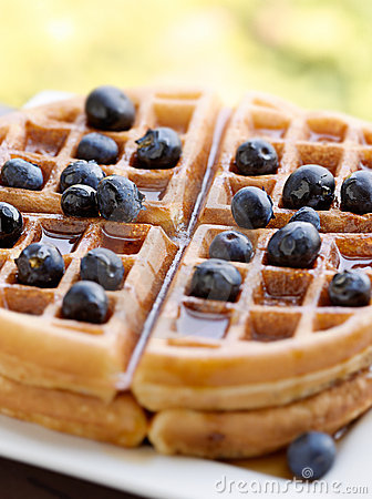 Free Waffles With Blueberries Stock Photo - 20184460