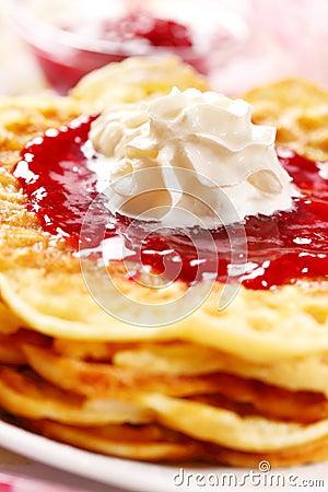 Free Waffles With Fresh Strawberry Jam Stock Photos - 22230083