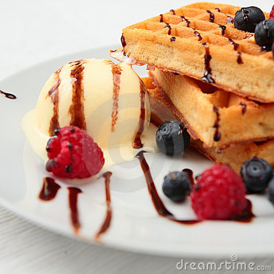 Free Waffles With Ice Cream Stock Photos - 9291993