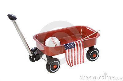 Wagon with American Flag, Baseball