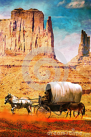 Wagon in the desert on grunge