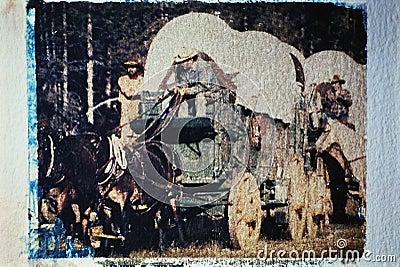 Wagon train taken at a historical reenactment Editorial Photography