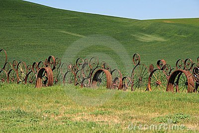 Wagon wheel fence at farm in eastern washington state.