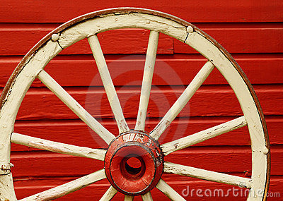 Wagon Wheel by Red Wall