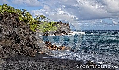 Waianapanapa State Park s Black Sand Beach Maui Hawaii