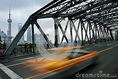 Waibaidu Bridge and Shanghai Skyline Editorial Photography